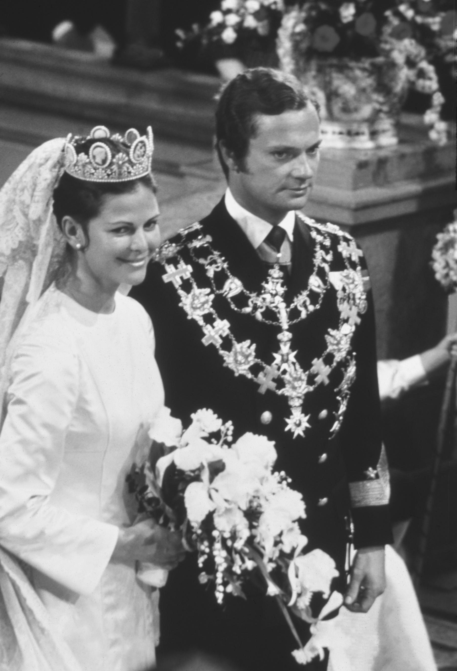 H.M. Konung Carl XVI Gustaf och H.M. Drottning Silvia. Bröllop den 19 juni 1976 i Storkyrkan i Stockholm HM King Carl XVI Gustaf and HM Queen Silvia. Wedding 19 june, 1976, The Cathedral, Stockholm
